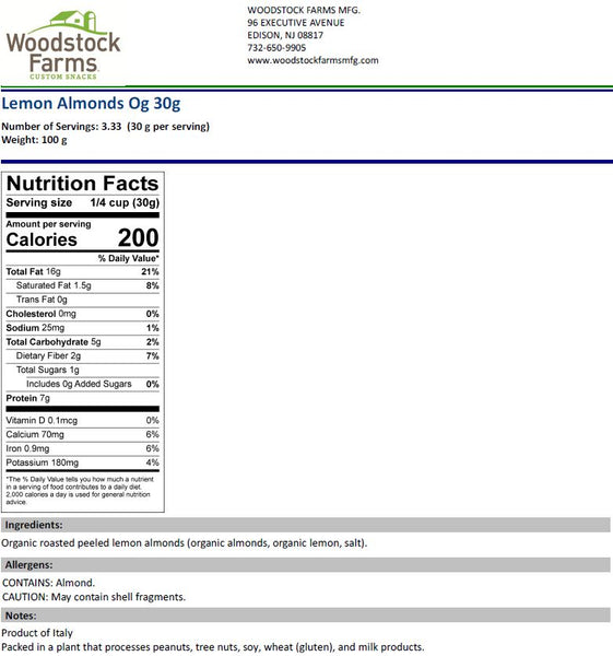 Lemon Almonds Organic Nutritional Facts | Woodstock Farms