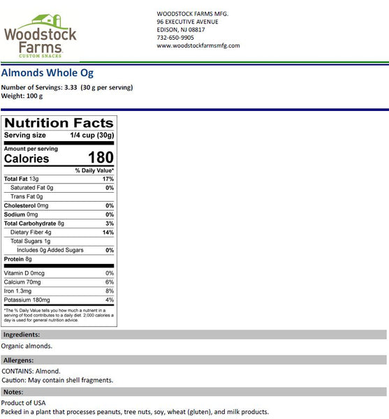 Organic Raw Almonds Nutritional Facts | Woodstock Farms