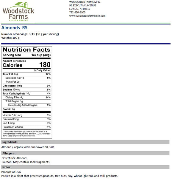 Almonds Roasted Salted Nutritional Facts | Woodstock Farms