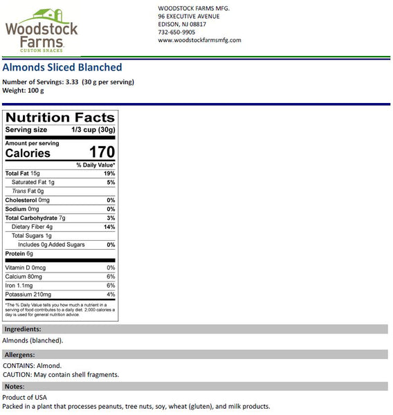 Almonds Sliced Blanched Nutritional Facts | Woodstock Farms