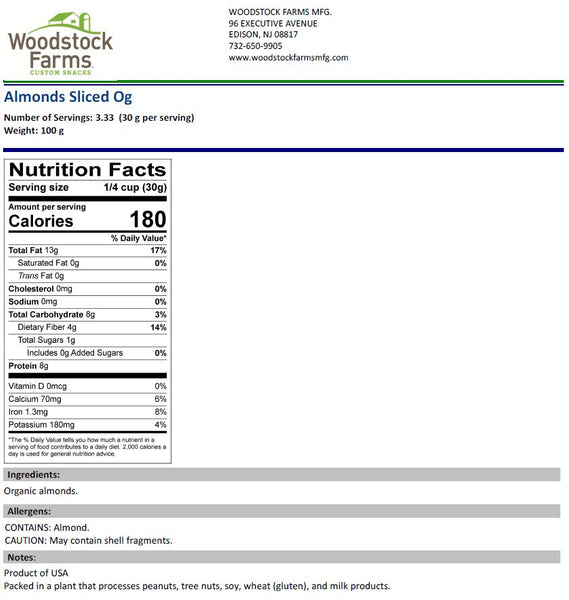 Organic Sliced Almonds Blanched Nutritional Facts | Woodstock Farms