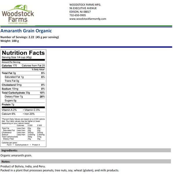 Organic Amaranth Grain Nutritional Facts | Woodstock Farms