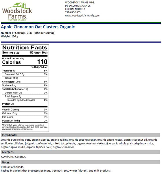 Organic Apple Cinnamon Oat Clusters Nutritional Facts | Woodstock Farms