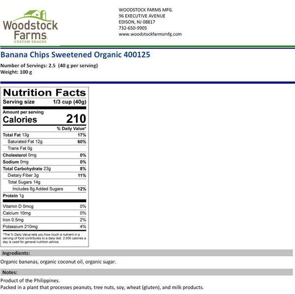 Organic Banana Chips Nutritional Facts | Woodstock Farms
