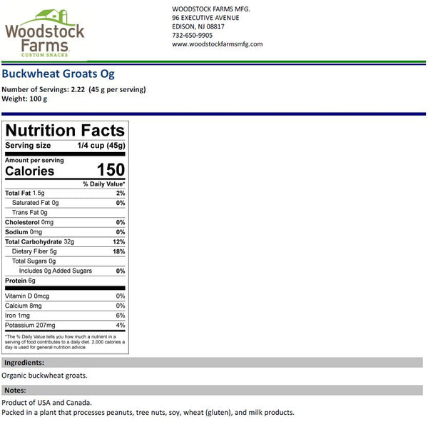 Organic Buckwheat Groats Nutritional Facts | Woodstock Farms