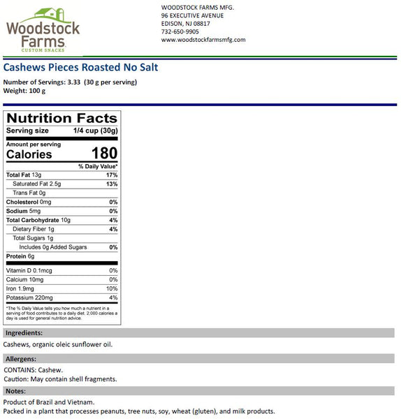 Cashew Pieces Roasted Salted Nutritional Facts | Woodstock Farms