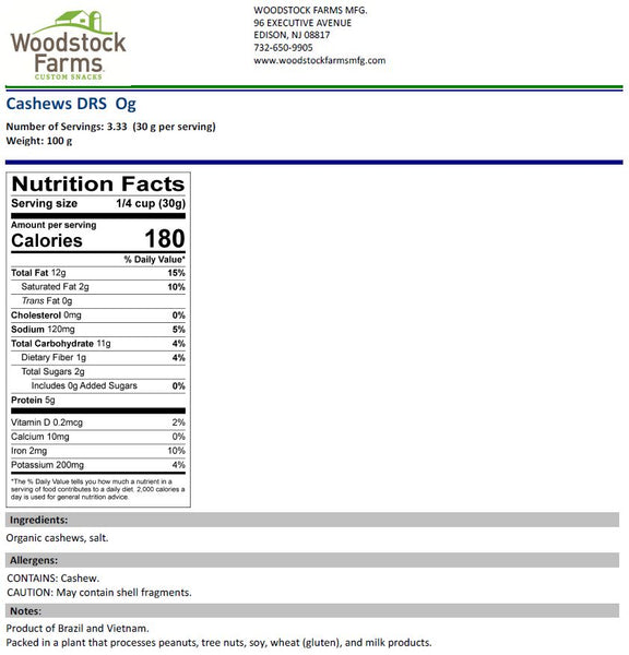 Cashews Dry Roasted & Salted Organic Nutritional Facts | Woodstock Farms