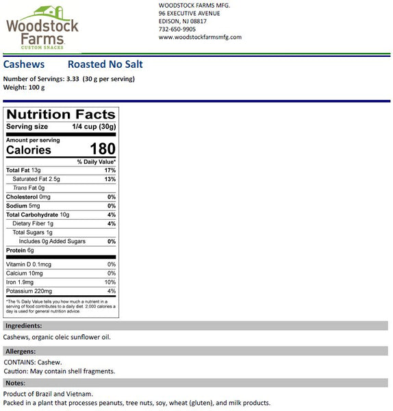 Roasted Cashews Nutritional Facts | Woodstock Farms
