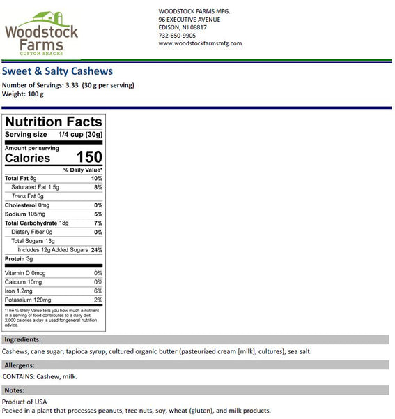 Coconut Cashews Nutritional Facts | Woodstock Farms
