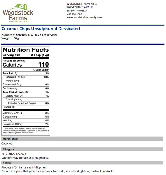 Coconut Chips Nutritional Facts | Woodstock Farms