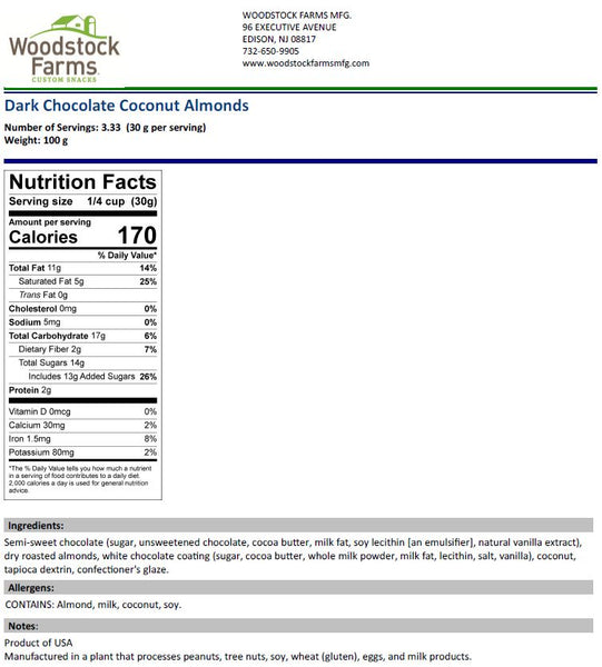Dark Chocolate Coconut Almonds Nutritional Facts | Woodstock Farms