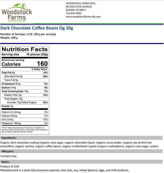 Organic Dark Chocolate Coffee Beans Nutritional Facts- Bulk, NON-GMO, Vegan, Kosher | Woodstock Farms Mfg