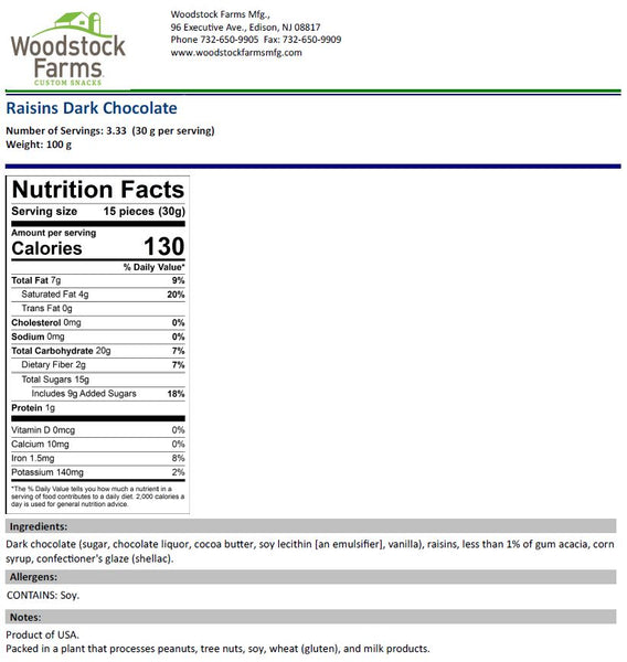 Dark Chocolate Raisins Nutritional Facts | Woodstock Farms