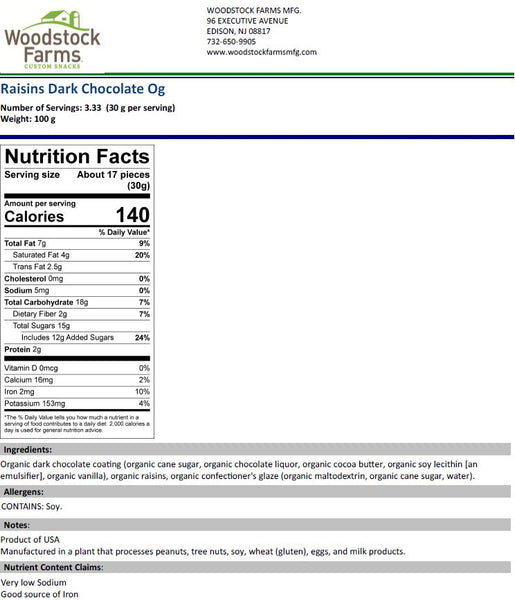 Organic Dark Chocolate Raisins Nutritional Facts | Woodstock Farms