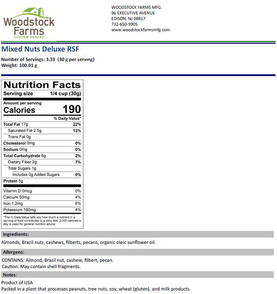 Mixed Nuts Nutritional Facts | Woodstock Farms