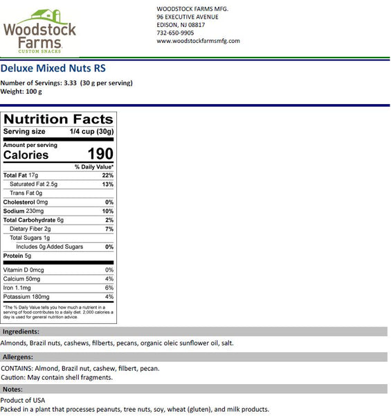 Deluxe Mixed Nuts Roasted & Salted Nutritional Facts | Woodstock Farms