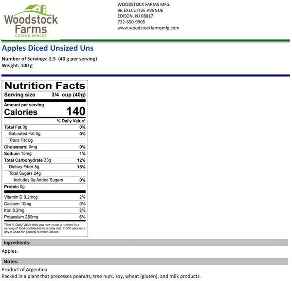 Diced Apples Nutritional Facts | Woodstock Farms
