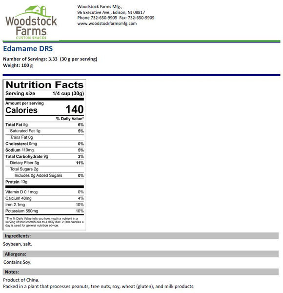 Edamame Dry Roasted and Salted Nutritional Facts | Woodstock Farms