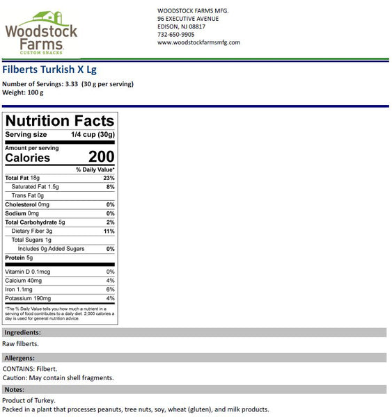 Hazelnuts / Filberts Nutritional Facts | Woodstock Farms