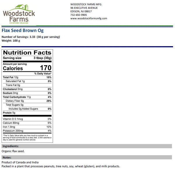 Organic Flax Seed Nutritional Facts | Woodstock Farms