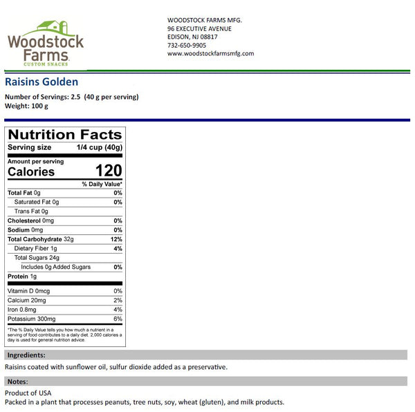 Golden Raisins Nutritional Facts | Woodstock Farms
