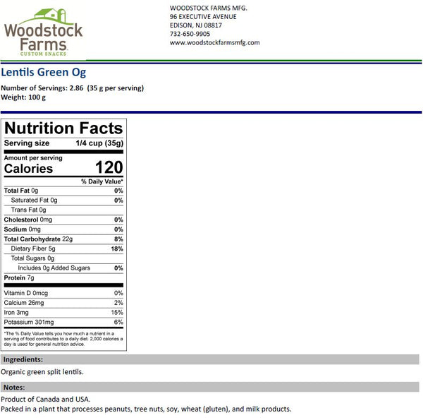 Organic Green Lentils Nutritional Facts | Woodstock Farms