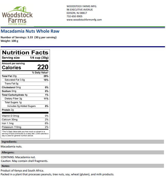 Macadamia Nuts Nutritional Facts | Woodstock Farms
