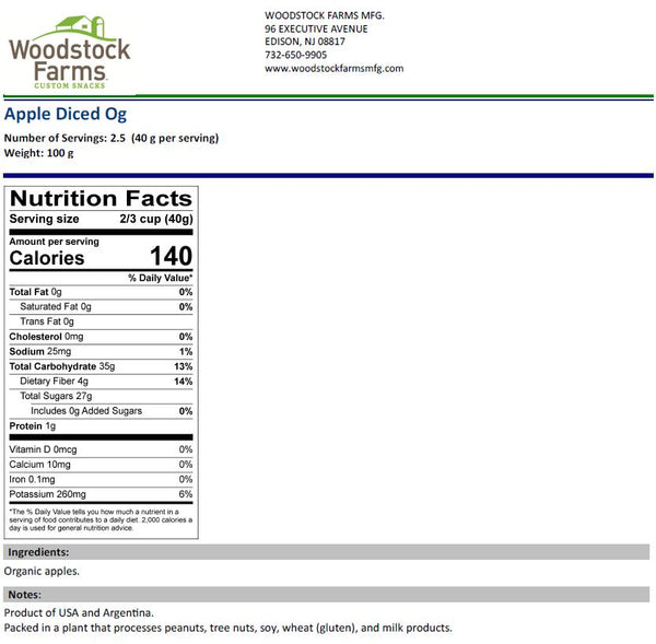 Organic Diced Apple Nutritional Facts | Woodstock Farms