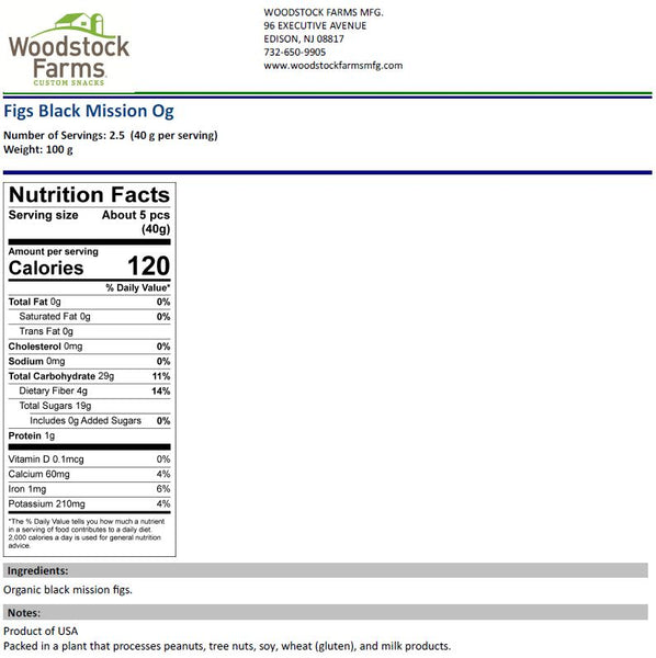Organic Black Mission Figs Nutritional Facts | Woodstock Farms