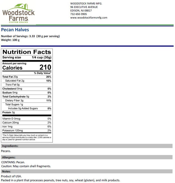 Pecan Halves Nutritional Facts | Woodstock Farms
