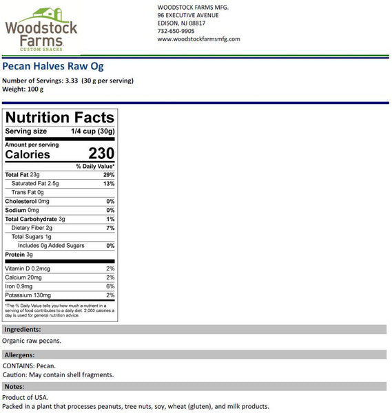 Organic Pecans Nutritional Facts | Woodstock Farms