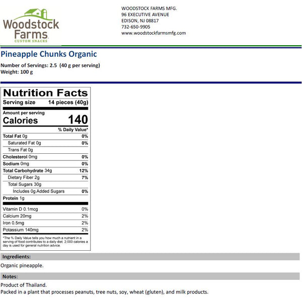 Organic Dried Pineapple Nutritional Facts | Woodstock Farms