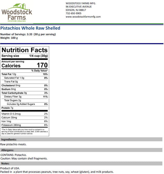 Pistachio Kernels Nutritional Facts | Woodstock Farms