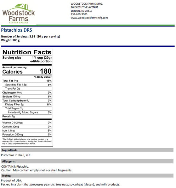 Roasted Pistachios (Salted In Shell) Nutritional Facts | Woodstock Farms