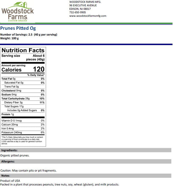 Organic Prunes Nutritional Facts | Woodstock Farms