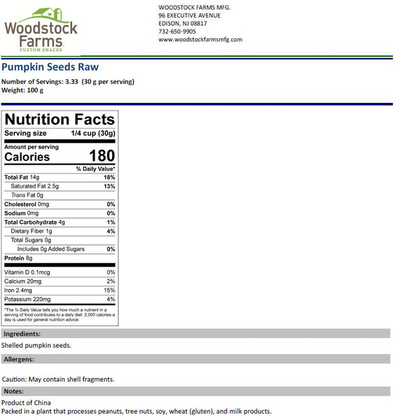 Pumpkin Seeds Raw Nutritional Facts | Woodstock Farms