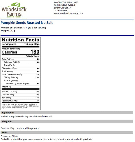 Pumpkin Seeds Roasted Unsalted Nutritional Facts | Woodstock Farms