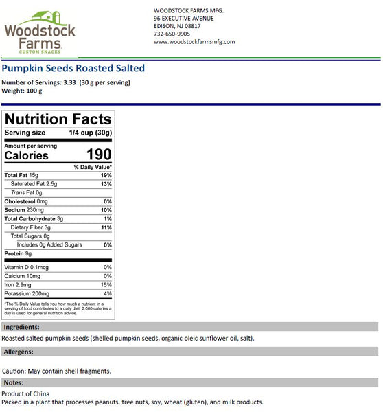 Pumpkin Seeds Roasted Salted Nutritional Facts | Woodstock Farms