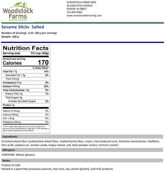 Salted Sesame Sticks Nutritional Facts | Woodstock Farms