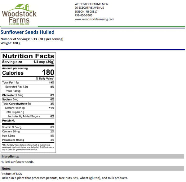 Sunflower Seeds (Shelled) Nutritional Facts | Woodstock Farms