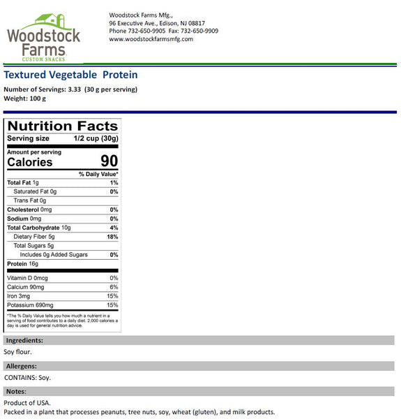 Textured Vegetable Protein Nutritional Facts | Woodstock Farms