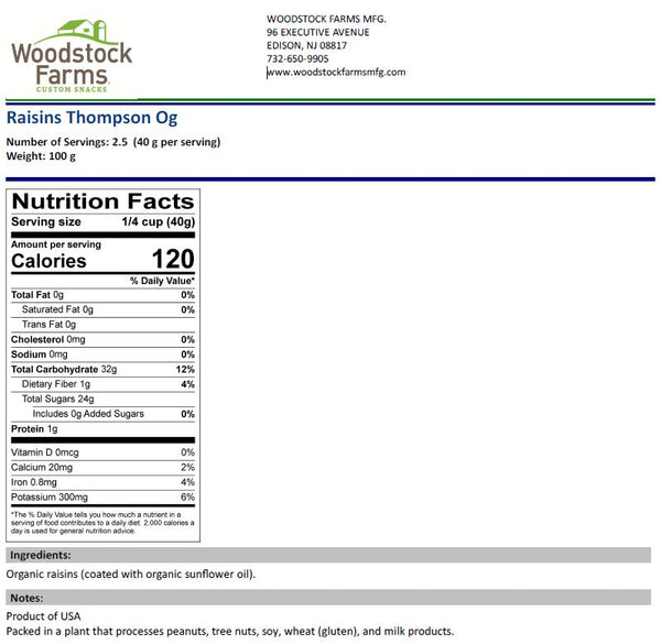 Organic Raisins Nutritional Facts | Woodstock Farms