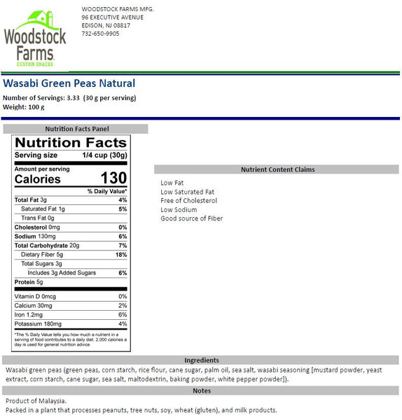 Wasabi Peas Nutritional Facts | Woodstock Farms