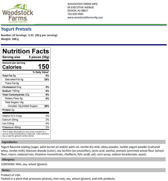 Yogurt Pretzels Nutritional Facts | Woodstock Farms