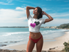 Pink & Black Heart - Women's Crop Top