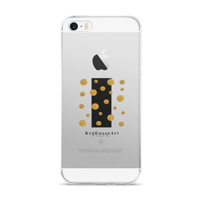 Gold Dots & Black Stripe - iPhone 5/5s/Se, 6/6s, 6/6s Plus Case