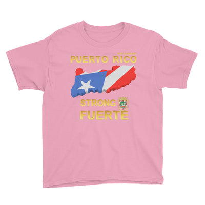 Puerto Rico Strong Fuerte - Youth Short Sleeve T-Shirt - All Proceeds will be Donated!