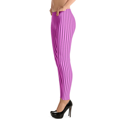 Pink with Black Stripes - Leggings