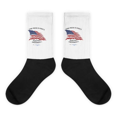 The Press is Free - Black foot socks