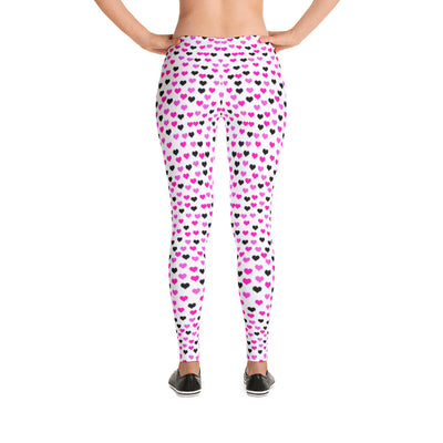 Leggings- Pink & Black Hearts